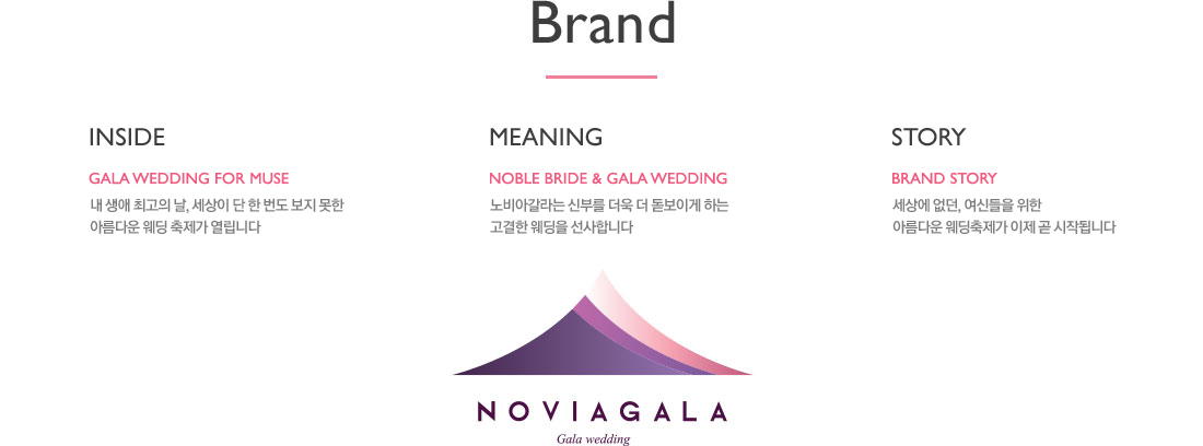 Brand(Inside:Gala Wedding For Muse),(Meaning:Noble Bride & Gala Wedding),(Story:Brand Story)
